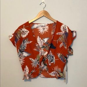 Tie front tropical shirt